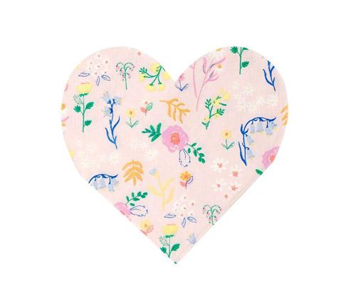 20 servilletas pequeñas en color rosa claro con flores silvestres diseñadas por Meri Meri.