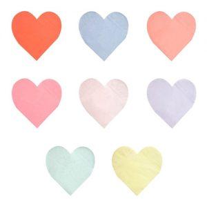 20 servilletas pequeñas en forma de corazón en 8 colores diferentes diseñadas por Meri Meri.