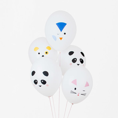 5 globos con divertidos mini animles, diseñados por My Little Day.