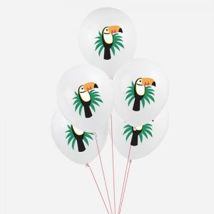 5 globos con divertidos toucans, diseñados por My Little Day.