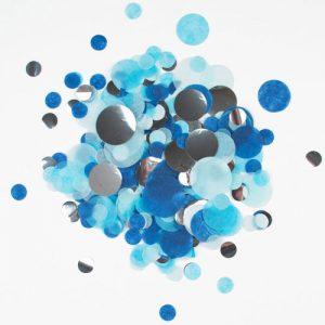 Confetti en diferentes tonalidades de azul diseñado por My Little Day.