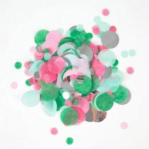 Confetti en diferentes tonalidades de rosa y verdes diseñado por My Little Day.