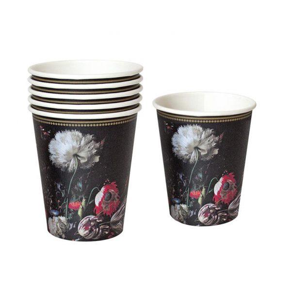 12 vasos de cartón con estilo barroco. Estos vasos son ideales para fiestas temáticas.