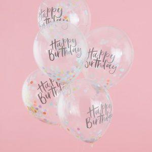 5 globos Happy Birthday con confetti de colores pastel diseñados por Ginger Ray.Para hacer que el confeti se adhiera a los lados de los globos, recomendamos inflar los globos con una mezcla de helio y una buena bocanada de aire.Son ideales para un cumpleaños.