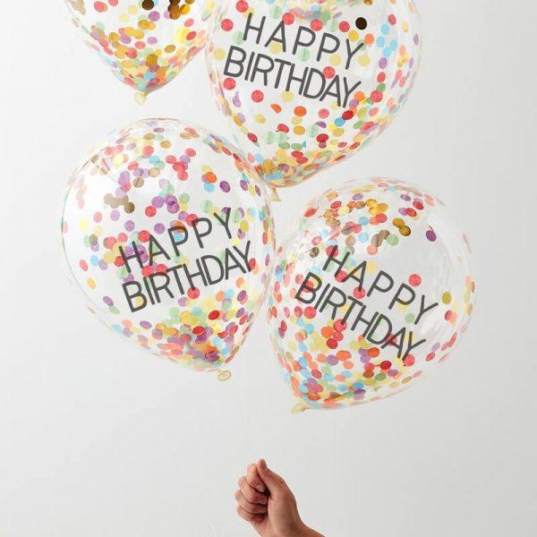 5 globos Happy Birthday con confetti de colores de arco iris diseñados por Ginger Ray.Para hacer que el confeti se adhiera a los lados de los globos, recomendamos inflar los globos con una mezcla de helio y una buena bocanada de aire.Son ideales para un cumpleaños.