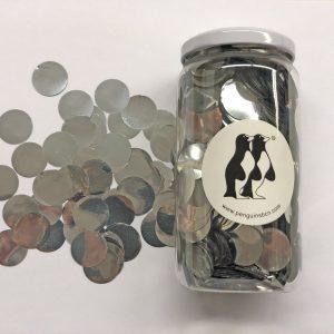 Confetti de color plata.Ideal para bodas, cumpleaños, bautizos o fiestas.