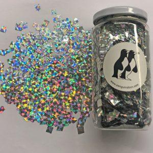 Confetti escarchado de color iris metálico.Ideal para bodas, cumpleaños, bautizos o fiestas.