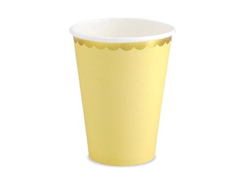 6 vasos de cartón en color amarillo con borde dorado diseñados por Part Deco.Estos vasos son ideales para fiestas de cumpleaños o babyshower.