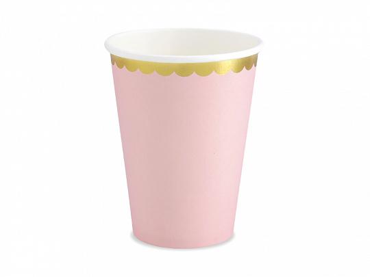 6 vasos de cartón en color lila con borde dorado diseñados por Part Deco.Estos vasos son ideales para fiestas de cumpleaños o babyshower.