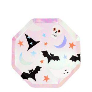 8 platos de cartón, con forma octogonal de Halloween diseñados por Meri Meri.Estos platos dan un toque para tu fiesta de halloween.