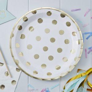 6 platos pequeños de carton, en color blanco con topos gold diseñados por Party Deco.Estos platos son ideales para una fiesta de cumpleaños o para las fiestas de navidad.