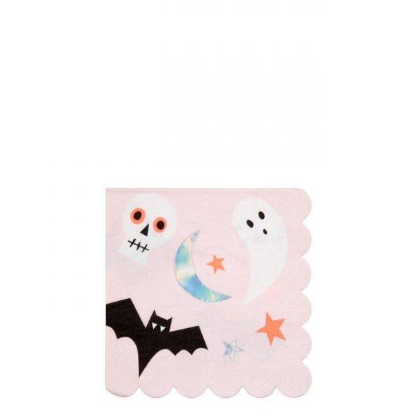 16 servilletas pequeñas de halloween diseñadas por Meri Meri.Estas servilletas son ideales para una fiesta de halloween.