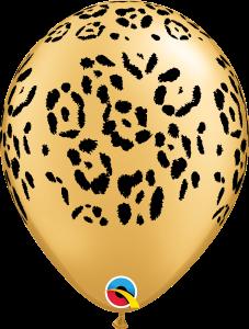 Bolsa con 50 globos de látex de 30 cms print animals leopardo . Fabricados por Qualatex. Tiene una capacidad de helio de 0,015m3.