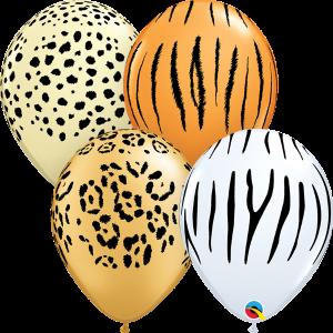 Bolsa con 50 globos de látex de 30 cms print animals cebra. Fabricados por Qualatex. Tiene una capacidad de helio de 0,015m3.