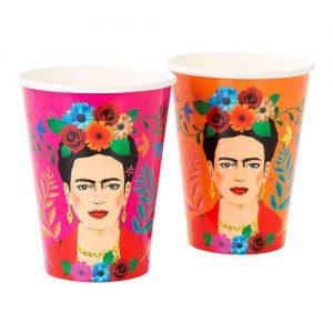 12 vasos de cartón de frida kahlo diseñados por Talking tables . Estos vasos son ideales para fiestas o cenas temáticas.