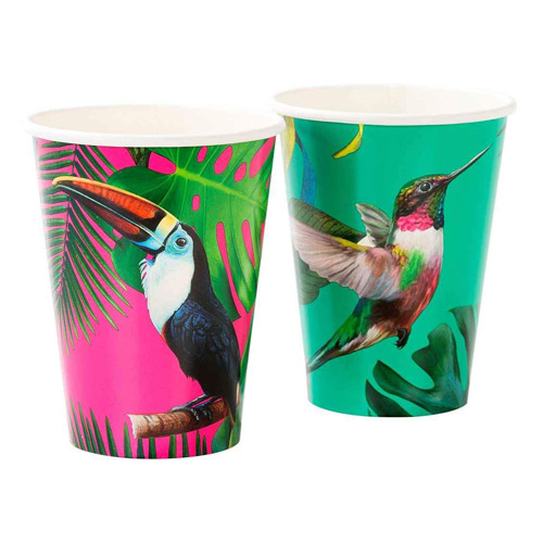 12 vasos de cartón de tucánt diseñados por Talking tables . Estos vasos son ideales para fiestas o cenas temáticas.