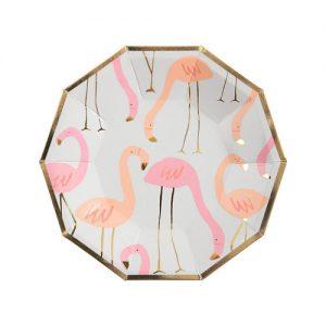 8 platos de cartón, de flamingos diseñados por Meri Meri. Estos platos son ideales para una fiesta de cumpleaños o una comida divertida.