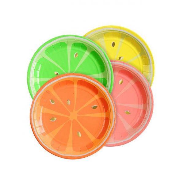 8 platos de cartón de hojas diseñados por Meri Meri. Estos platos son ideales para una fiesta de primavera.