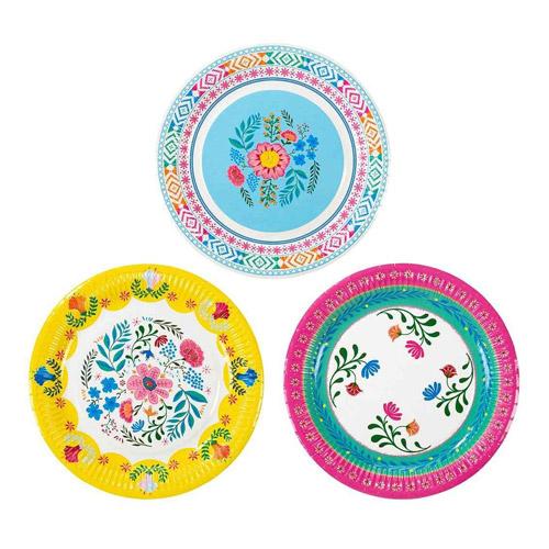 12 platos de cartón de hojas diseñados por Talking tables. Estos platos son ideales para una fiesta de primavera.
