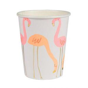 8 vasos de cartón de tucánt diseñados por Meri Meri . Estos vasos son ideales para fiestas de primavera.