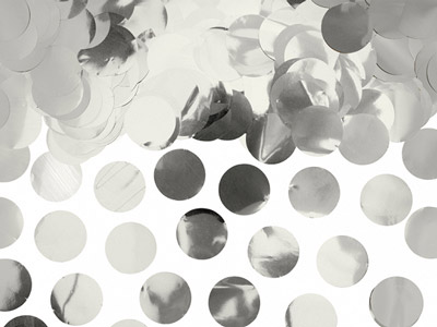 Confetti de color plateado metálico de 2,5 cm. Ideal para bodas, cumpleaños, bautizos o fiestas.