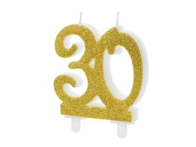 número 30 en color dorado brillante Estas velas son ideales para tu pastel.