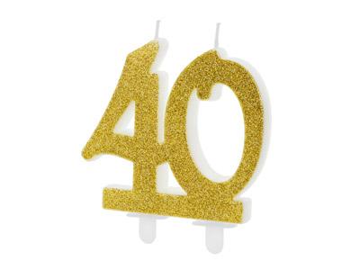 número 40 en color dorado brillante Estas velas son ideales para tu pastel.