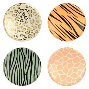 8 Platos de 4 diseños diferentes diseñados por Meri Meri. Estos platos son ideales para una fiesta de safari.