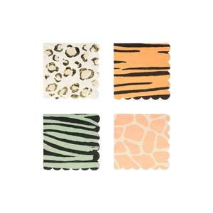 16 servilletas de 4 diseños diferentes diseñados por Meri Meri. Estas servilletas son ideales para una fiesta de safari.