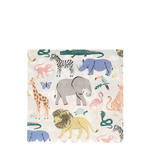 20 servilletas con animales. diseñadas por Meri Meri. Estas servilletas son ideales para fiestas de safari.