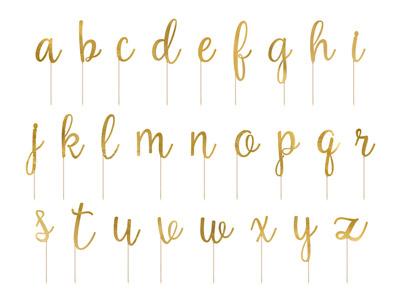 Toppers en forma de letras hechas de papel de oro espejo en palos de madera. El juego contiene letra A - 3 piezas, letras de B a Z - 2 piezas cada una. Estas letras son ideales para tu pastel.