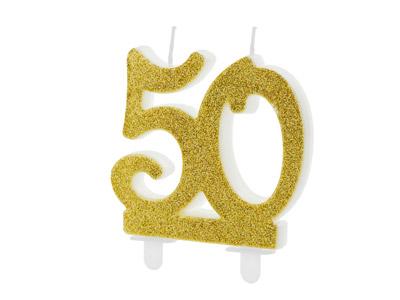 número 50 en color dorado brillante Estas velas son ideales para tu pastel.