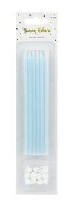 12 velas azul pastel de 14,5 cm de altura. Estas velas son ideales para tu pastel de cumpleaños.