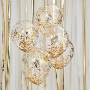 5 globos rellenos con confeti dorado para crear el escenario perfecto para una fiesta. Tiene una capacidad de helio de 0,015m3.