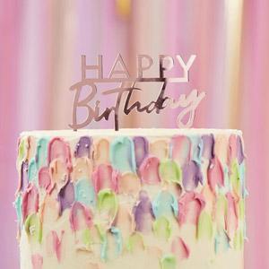Toppers en forma de happy birthday. Este adorno de happy birthday acrílico dorado será el toque perfecto para las celebraciones de cumpleaños.