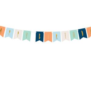 Banner Happy Birthday, multicolor con letras dorada, es perfecta para un pequeña decoración de cumpleaños. El paquete contiene: 2,5 m de cinta blanca y las letras de 5 colores diferentes, para que te puedas montar la guirnalda a tu gusto.