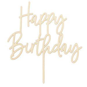 Cake Toppers de madera en forma de happy birthday. Este Topper happy birthday de madera es perfecto par para dar un toque rustico a tus tartas de cumpleaños.