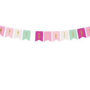 Banner Happy Birthday, mezcla de colores rosados y verdes con letras dorada, es perfecta para un pequeña decoración de cumpleaños. El paquete contiene: 2,5 m de cinta blanca y las letras de 5 colores diferentes, para que te puedas montar la guirnalda a tu gusto.
