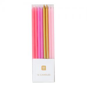 Estas velas de colores rosados y oro son perfectas para agregar altura a un pastel de cumpleaños. Cada paquete contiene 16 velas largas con sostenedores. Estas velas son ideales para tu pastel de cumpleaños.