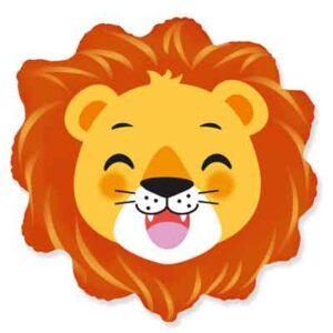 Globo de foil, en forma de León, perfecto para poder montar una fiesta con temática de animales salvajes, con una capacidad de 0,040m3 de helio. El precio no incluye el hinchado con helio.